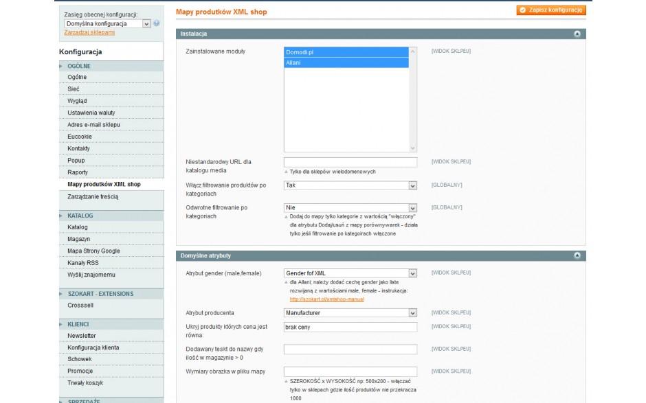 panel - integracja Magento z Domodi, Allani, La Moda, Ceneo