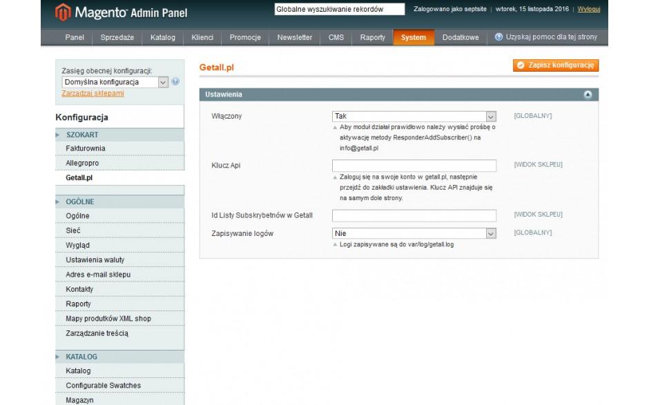 integracja Magento z Getall.pl - konfiguracja