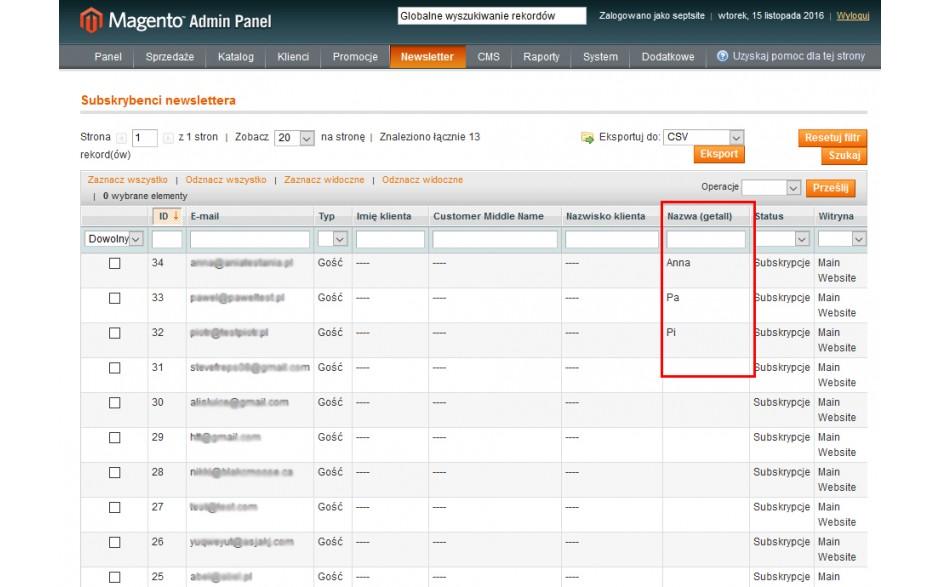 integracja Magento z Getall.pl - lista subskrybentów