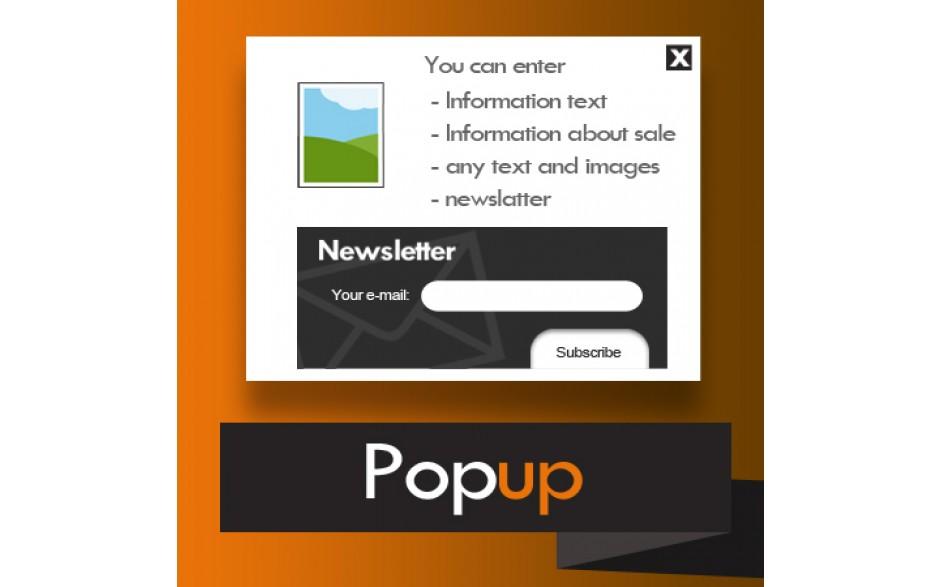 magento okienko pop-up treścią i newsletterem